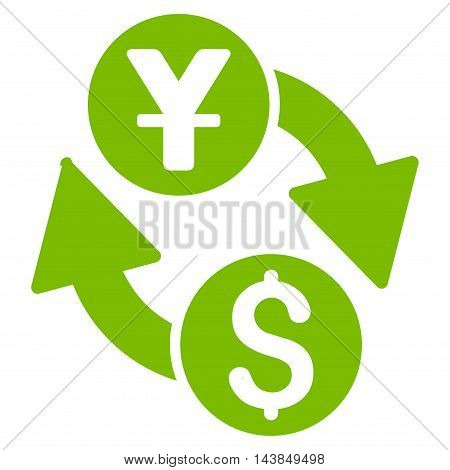 Dollar Yuan Exchange icon. Vector style is flat iconic symbol with rounded angles, eco green color, white background.