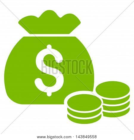 Money Bag icon. Vector style is flat iconic symbol with rounded angles, eco green color, white background.