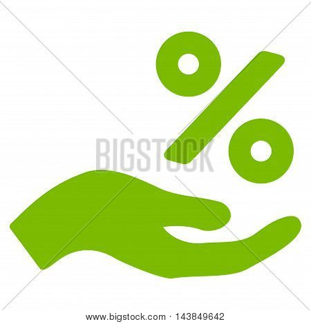 Percent Offer Hand icon. Vector style is flat iconic symbol with rounded angles, eco green color, white background.