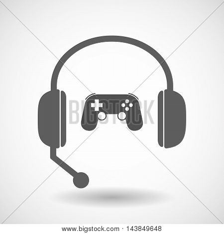 Isolated  Hands Free Headset Icon With  A Game Pad