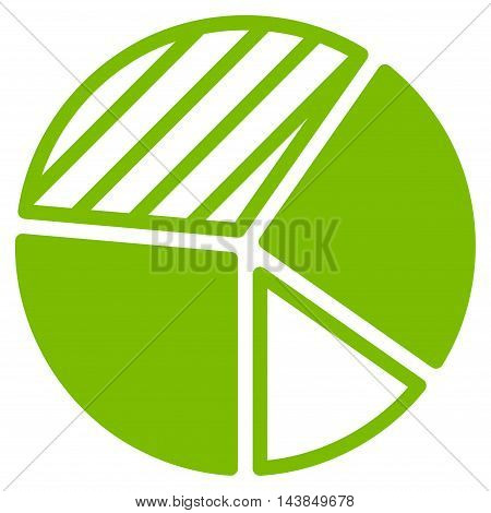 Pie Chart icon. Vector style is flat iconic symbol with rounded angles, eco green color, white background.