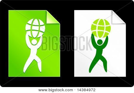 Holding up Globe on Paper Set Original Vector Illustration AI 8 Compatible File