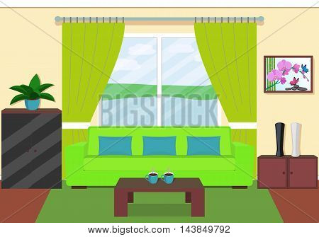 Living Room Interior With Window In Green Colors. Vector Illustration.
