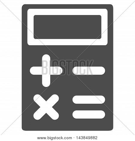 Calculator icon. Vector style is flat iconic symbol with rounded angles, gray color, white background.