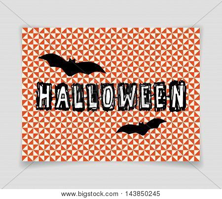 Halloween vector banner with bats on seamless triangle background.
