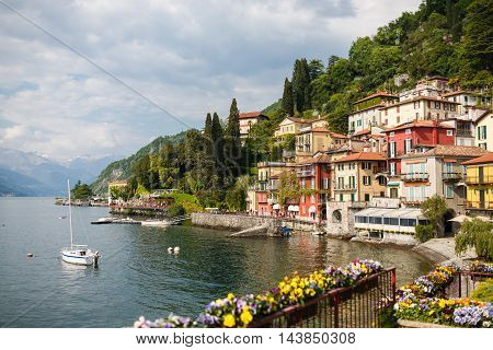 Varenna Italy - May 06 2016: The landmark of the town at Lake Como spring time