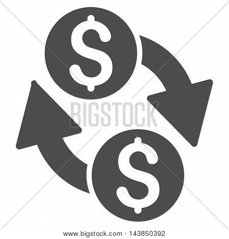 Dollar Exchange icon. Vector style is flat iconic symbol with rounded angles, gray color, white background.