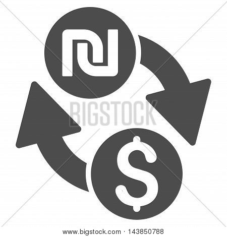 Dollar Shekel Exchange icon. Vector style is flat iconic symbol with rounded angles, gray color, white background.