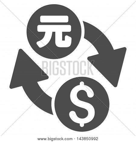 Dollar Yuan Exchange icon. Vector style is flat iconic symbol with rounded angles, gray color, white background.