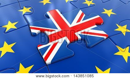 3D Illustration. UK Jigsaw as part of EU