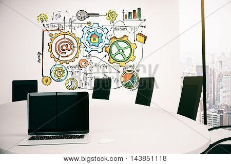 Conference room interior with blank white laptop and business sketch on concrete wall. Mock up 3D Rendering