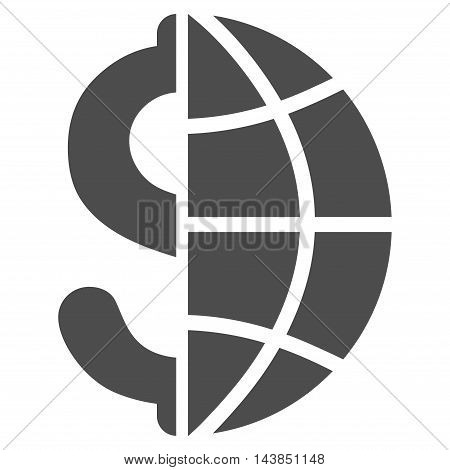 Global Business icon. Vector style is flat iconic symbol with rounded angles, gray color, white background.