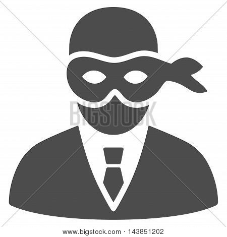 Masked Thief icon. Vector style is flat iconic symbol with rounded angles, gray color, white background.