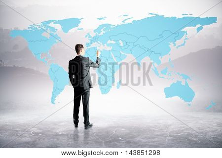 Businessperson drawing map on abstract background. 3D Rendering