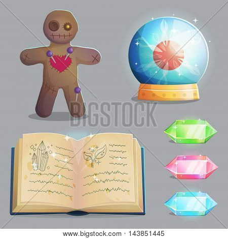 A collection of items for magic witch equipment set. Crystal gemstones and voodoo doll, ancient book of shadows and magic sphere with lightning, spooky elements for game and app design.