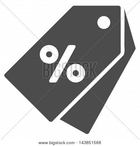 Percent Discount Tags icon. Vector style is flat iconic symbol with rounded angles, gray color, white background.