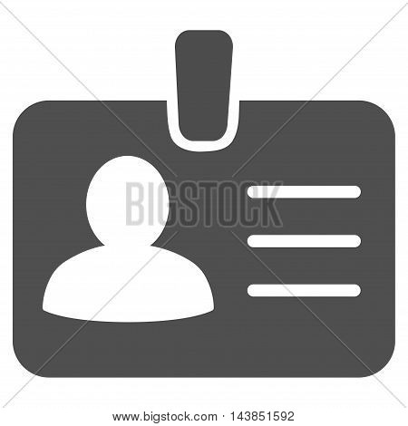 Person Badge icon. Vector style is flat iconic symbol with rounded angles, gray color, white background.