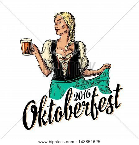 Poster to oktoberfest festival. Young sexy woman wearing a traditional Bavarian dress dirndl dancing and holding beer mug. Vintage color vector engraving illustration isolated on white background.