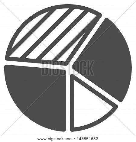 Pie Chart icon. Vector style is flat iconic symbol with rounded angles, gray color, white background.