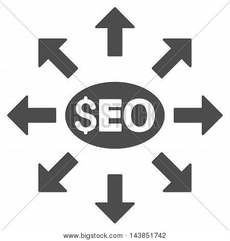 Seo Distribution icon. Vector style is flat iconic symbol with rounded angles, gray color, white background.