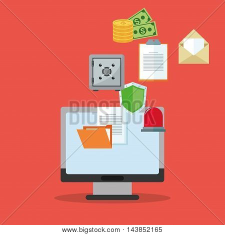 computer money shield file cyber security system technology icon. Colorful and flat design. Vector illustration