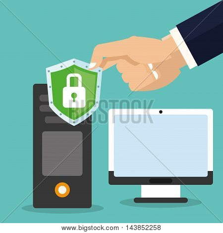 computer padlock cyber security system technology icon. Colorful and flat design. Vector illustration