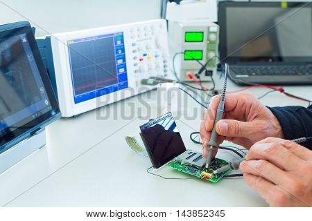 Measuring devices in the electronics lab
