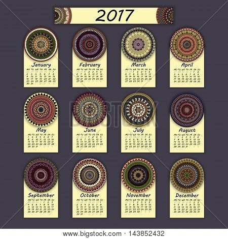 Calendar 2017. Vintage Decorative Colorful Elements. Ornamental Floral Oriental Pattern, Vector Illu