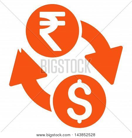 Dollar Rupee Exchange icon. Vector style is flat iconic symbol with rounded angles, orange color, white background.