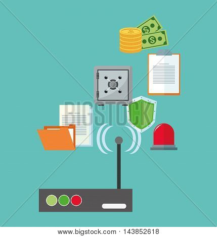 wifi shield file alarm paper money cyber security system technology icon. Colorful and flat design. Vector illustration
