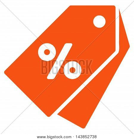 Percent Discount Tags icon. Vector style is flat iconic symbol with rounded angles, orange color, white background.