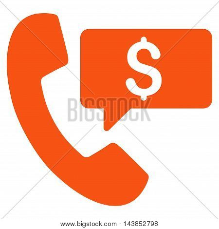 Phone Order icon. Vector style is flat iconic symbol with rounded angles, orange color, white background.