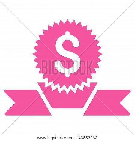 Banking Award icon. Vector style is flat iconic symbol with rounded angles, pink color, white background.