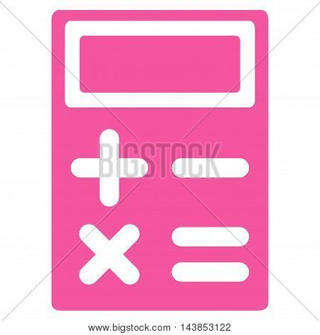 Calculator icon. Vector style is flat iconic symbol with rounded angles, pink color, white background.