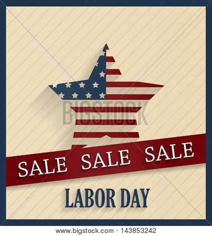 Labor Day sale poster with ribbon. Vector illustration.