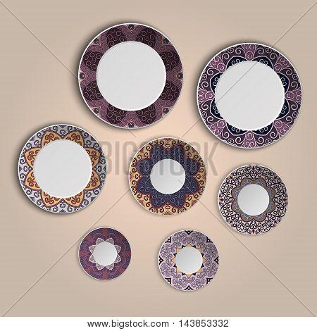 Set Of Plates With Elegant Ethnic Tribal Mandala Ornament In Boho Style. Home Decor Vector Illustrat