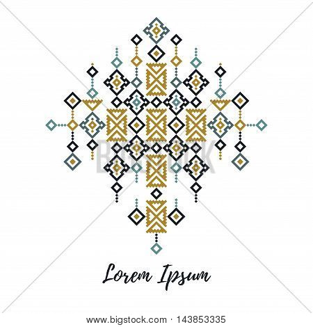 Trendy tribal elegant modern design element in a cross stich style