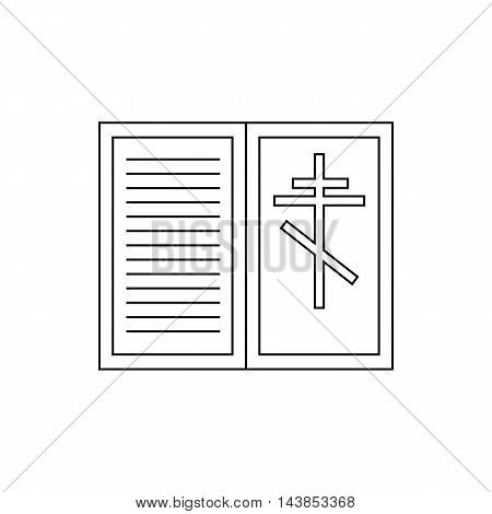 Eulogy, death symbol icon in outline style isolated on white background