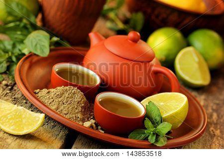 Matcha green tea lime and fresh mint