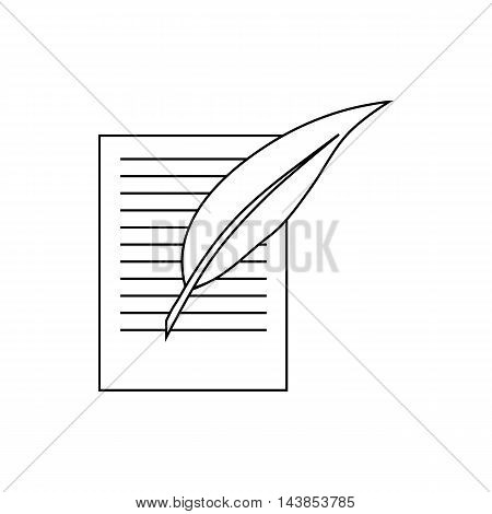 Testament letter and pen icon in outline style isolated on white background