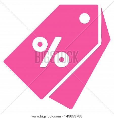 Percent Discount Tags icon. Vector style is flat iconic symbol with rounded angles, pink color, white background.
