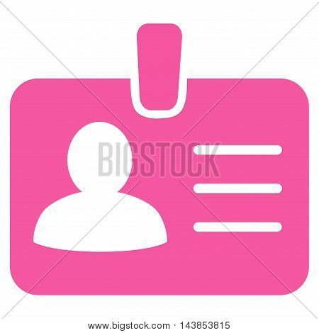 Person Badge icon. Vector style is flat iconic symbol with rounded angles, pink color, white background.