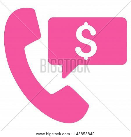 Phone Order icon. Vector style is flat iconic symbol with rounded angles, pink color, white background.