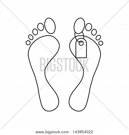Feet with a tag icon in outline style isolated on white background