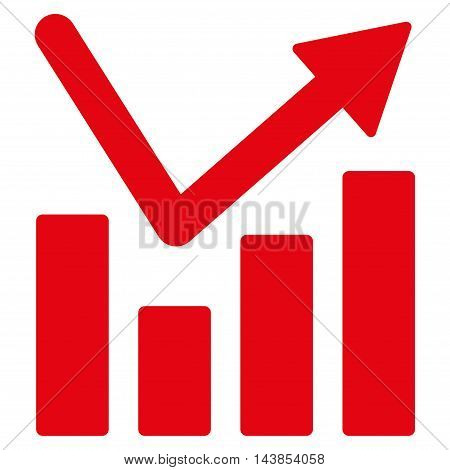 Bar Chart Trend icon. Vector style is flat iconic symbol with rounded angles, red color, white background.