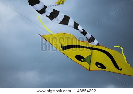 A kite with a smiling face flies in a storm.