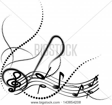 Ornamental music notes with swirls on white background.