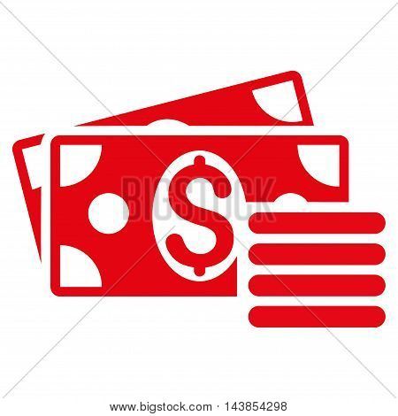 Dollar Cash icon. Vector style is flat iconic symbol with rounded angles, red color, white background.