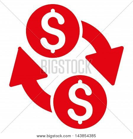 Dollar Exchange icon. Vector style is flat iconic symbol with rounded angles, red color, white background.