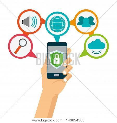 smartphone padlock global lupe cloud cyber security system technology icon. Colorful and flat design. Vector illustration